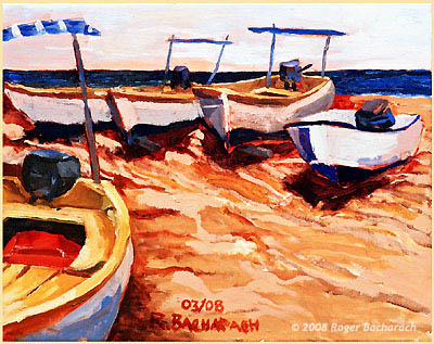 Yellow Boats 1 by Roger Bacharach