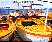 Yellow Boats 2 by Roger Bacharach